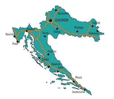Carte des autoroutes de Croatie