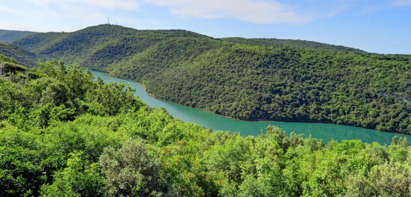 Fluss Mirna in Istrien - Fischfang im Fluss - Binnengewässer Seen und Flüsse