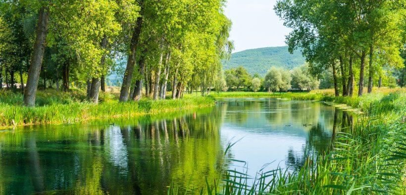 Grüne Flusslandschaft Gacka zum Angeln in Karlovac-Lika
