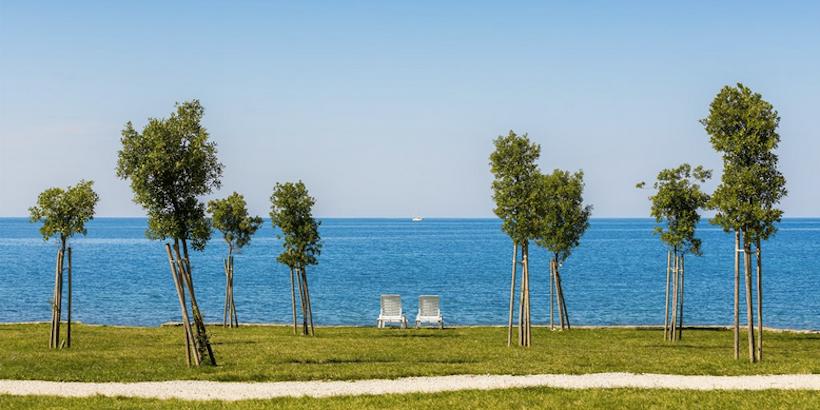 Zwei Liegestühle im Grünen am Meer beim Camping in Poreč