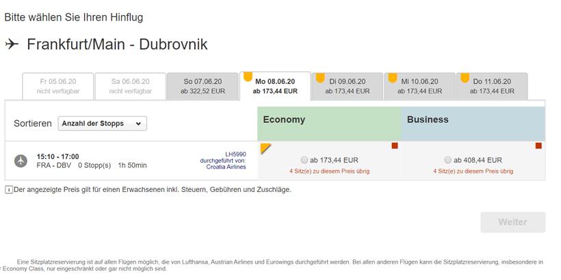 Sommerurlaub 2020 in Kroatien__25.05.2020 Lufthansa