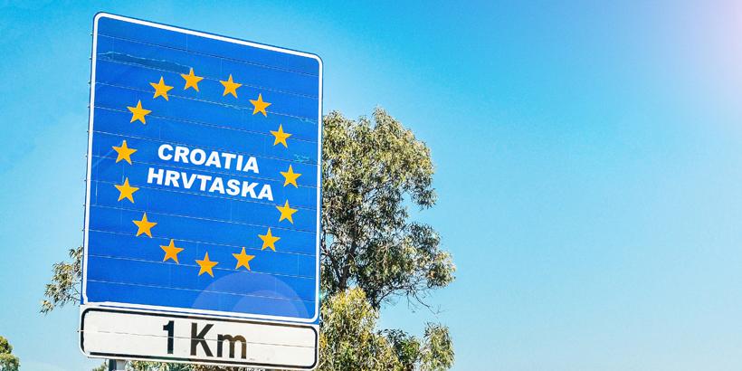 Grenze Border Kroatien 1 km