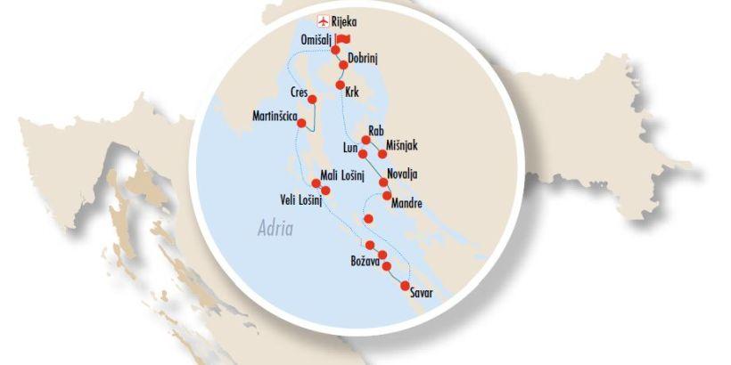 Inselhüpfen Kvarner Bucht - Karte zur Inselhopping Tour