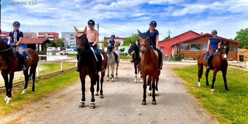 Pferde und Reiterinnen vom Konjički Klub Edek in Zagreb