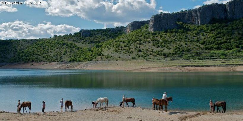 Equestrian Club Split mit Pferden zur Trinkpause am Wasser vor Bergkulisse