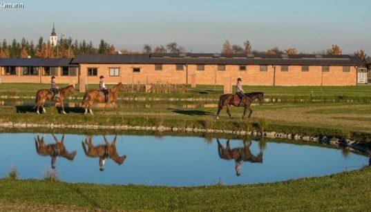 Reiter spiegeln sich im Teich vor dem Pferdehof Ranč Ramarin in Slawonien