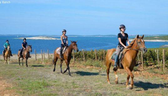 Reitergruppe von Samy's Ranch nahe Medulin am Meer